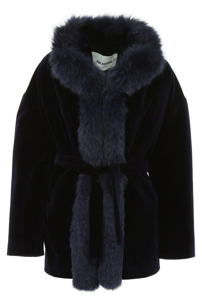 Ava Adore Velvet Coat With Fox Fur