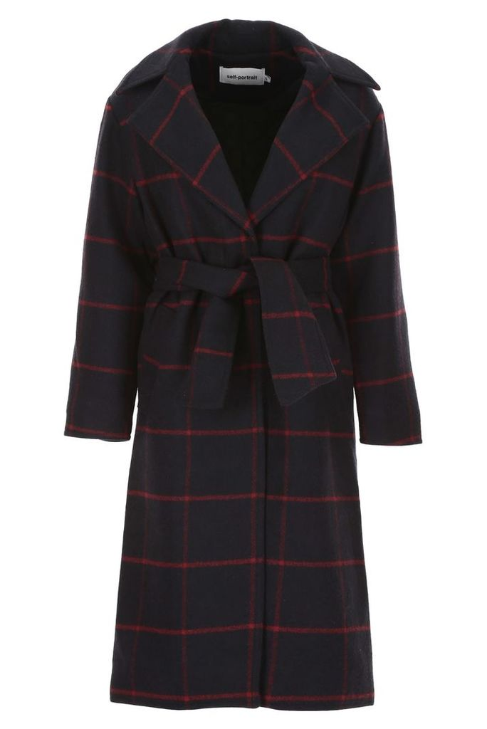 self-portrait Check Coat