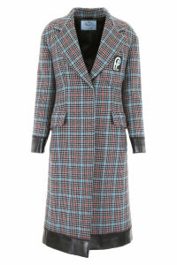 Prada Check Coat With Contrast Hems