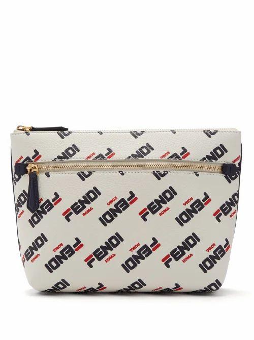Fendi - Mania Logo Print Leather Pouch - Womens - White Multi