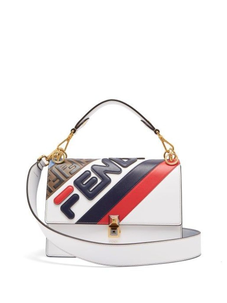 Fendi - Mania Kan I Logo Appliqué Leather Shoulder Bag - Womens - White Multi