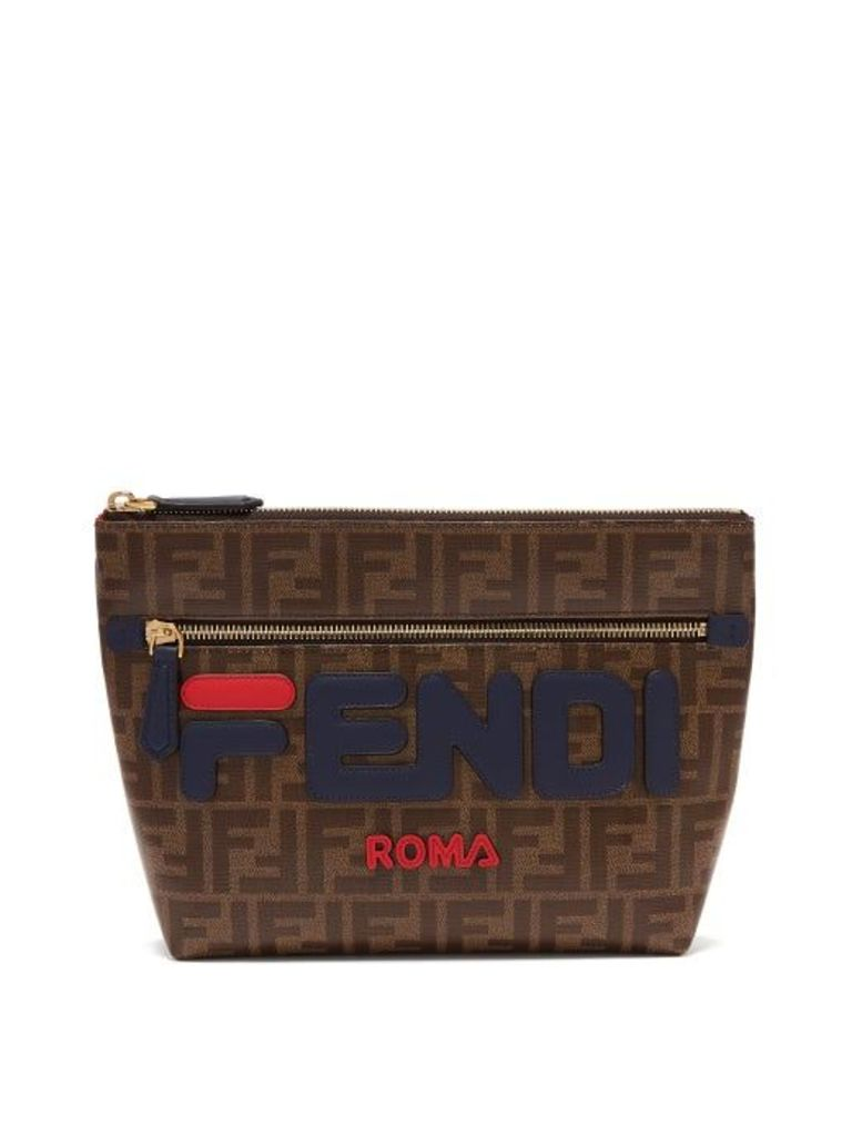 Fendi - Mania Logo Appliqué Pouch - Womens - Brown Multi