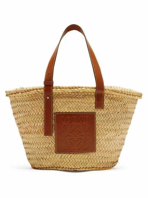 Loewe - Medium Woven Basket Bag - Womens - Tan Multi
