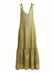 Juliet Dunn - Sequin Embellished Embroidered Silk Maxi Dress - Womens - Green
