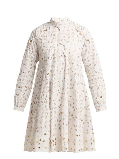 Juliet Dunn - Leaf Print Cotton Jacket - Womens - White Multi