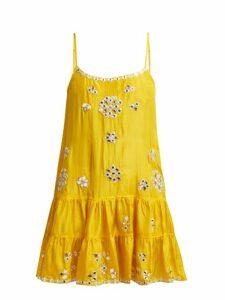 Juliet Dunn - Mirror Work Silk Satin Mini Dress - Womens - Yellow