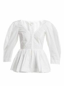 Isa Arfen - Vera Gathered Cotton Top - Womens - White