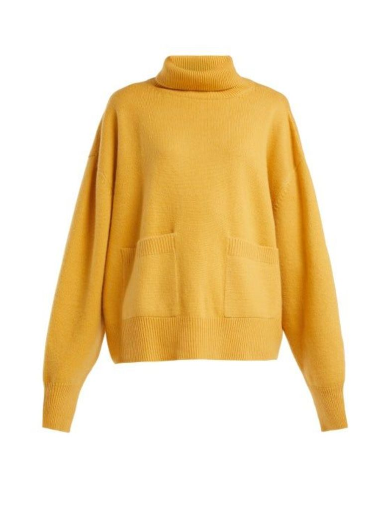 Raey - Pocket Front Roll Neck Cashmere Sweater - Womens - Yellow