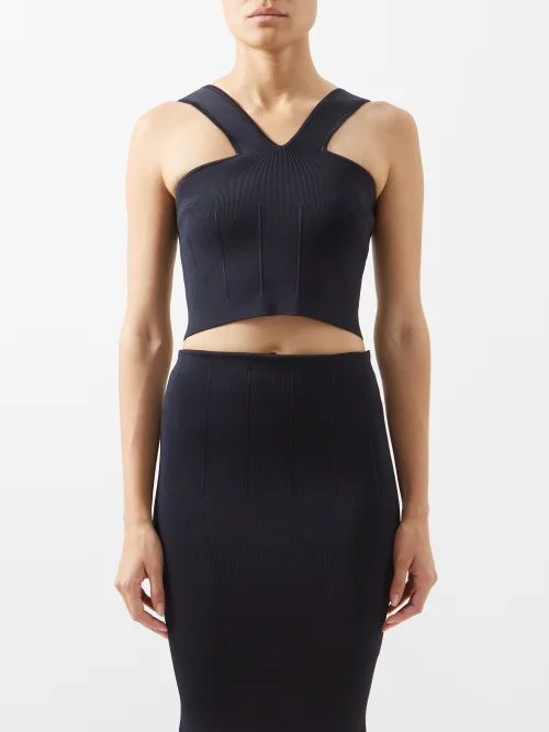 Altuzarra - Vichy Lace Trimmed Checked Wool Blend Skirt - Womens - Black White