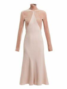 Haider Ackermann - Kerria Velvet Panelled Crepe Dress - Womens - Pink