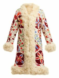 Zazi Vintage - Suzani Embroidered Shearling Coat - Womens - 231 White Multi