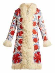 Zazi Vintage - Suzani Embroidered Shearling Coat - Womens - 237 White Multi
