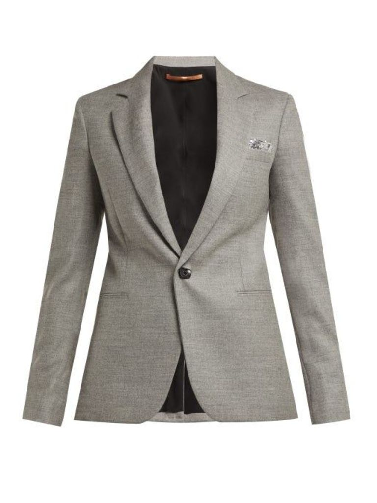 Summa - Sequin Trimmed Wool Blend Blazer - Womens - Grey