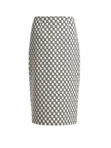 Mary Katrantzou - Sigma Geometric Jacquard Pencil Skirt - Womens - Black White