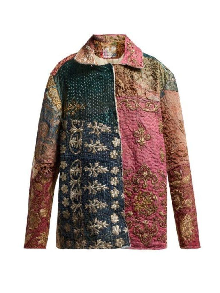 By Walid - Hope Panelled 19th Century Silk Jacket - Womens - Beige Multi