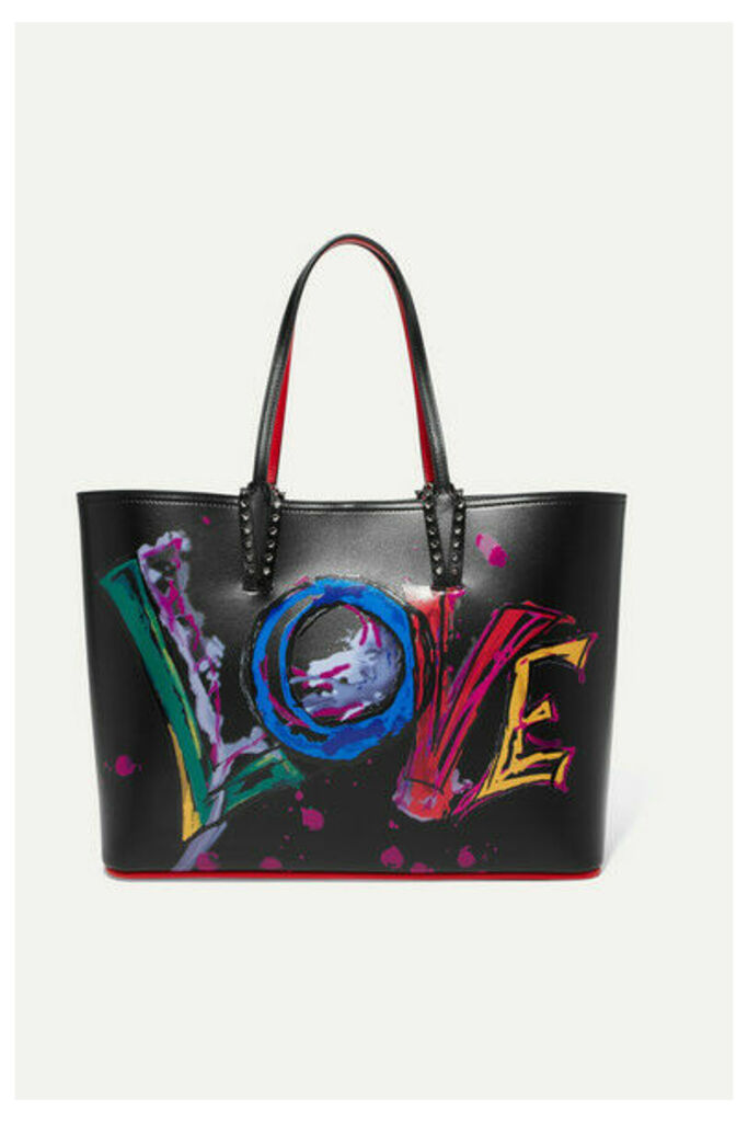 Christian Louboutin - Cabata Spiked Printed Leather Tote - Black