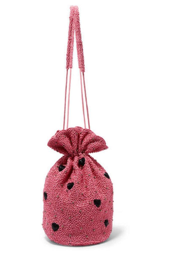 GANNI - Embellished Satin Pouch - Pink