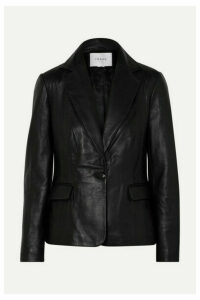 FRAME - Schoolboy Leather Blazer - Black