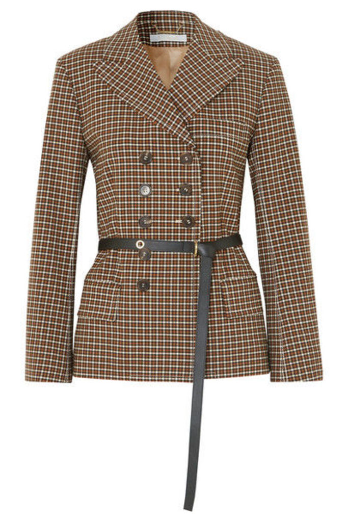 Chloé - Belted Double-breasted Checked Woven Blazer - Brown