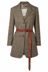 Giuliva Heritage Collection - Karen Belted Herringbone Merino Wool Blazer - Brown