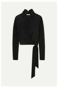 GANNI - Metallic Stretch-knit Wrap Top - Black