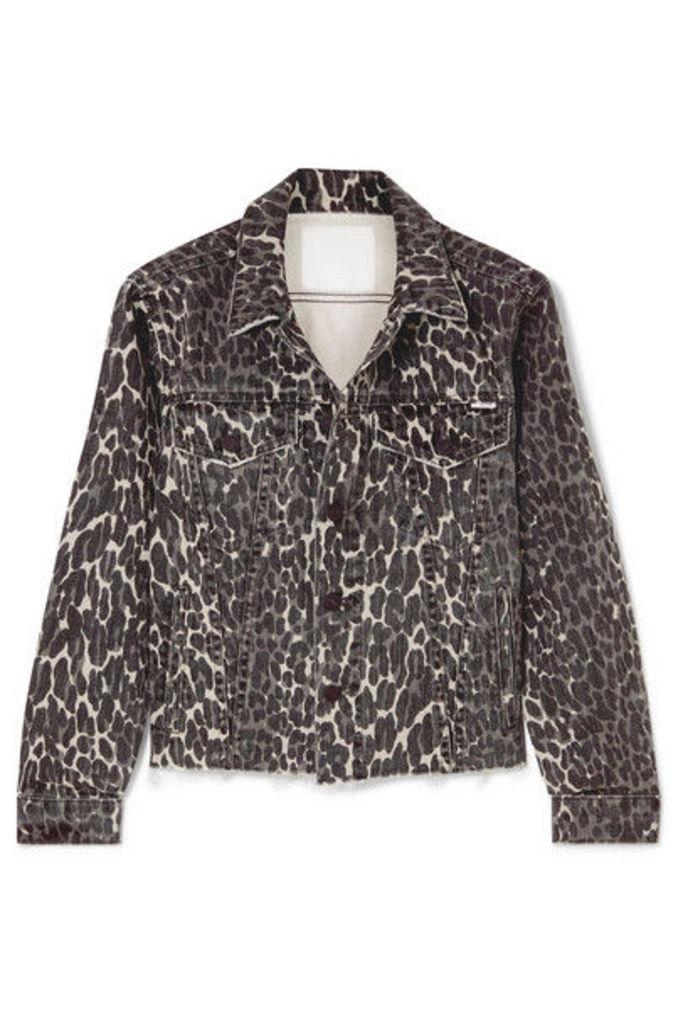 Mother - The Cut Drifter Distressed Leopard-print Denim Jacket - Leopard print