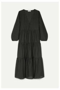 Matteau - Tiered Cotton-poplin Maxi Dress - Black