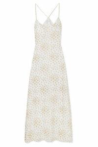 Marie France Van Damme - Fil Coupé Silk-blend Chiffon Maxi Dress - Gold