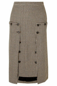 Rokh - Houndstooth Tweed And Pleated Chiffon Skirt - Brown