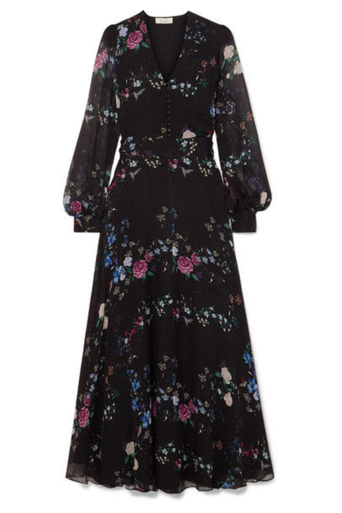 Equipment - + Tabitha Simmons Clemense Ruffled Floral-print Silk-chiffon Maxi Dress - Black
