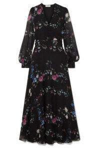 Equipment - + Tabitha Simmons Clemense Ruffled Floral-print Silk-chiffon Maxi Dress - Black