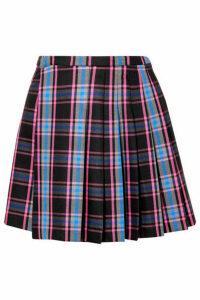 Matthew Adams Dolan - Pleated Checked Wool-blend Mini Skirt - Blue