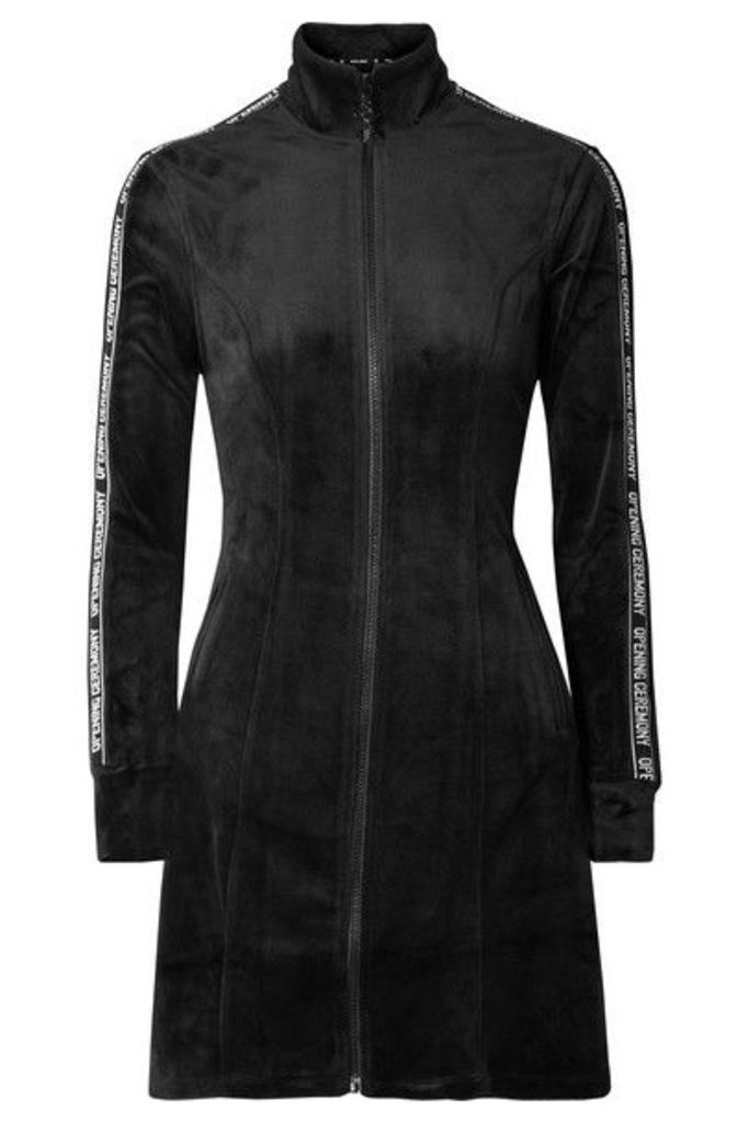 Opening Ceremony - Intarsia-trimmed Velour Mini Dress - Black