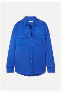 Equipment - Signature Satin Shirt - Blue