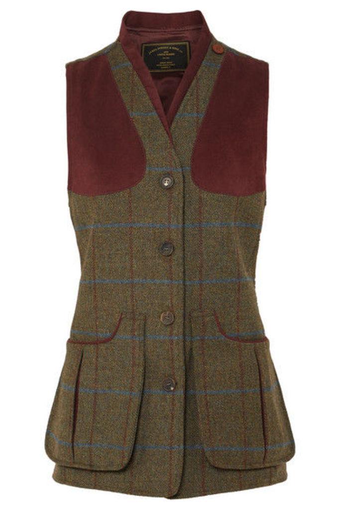 James Purdey & Sons - Alcantara-trimmed Checked Wool-tweed Vest - Green