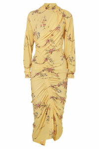 Preen by Thornton Bregazzi - Louise Ruched Floral-print Stretch-crepe Dress - Yellow