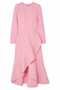 Oscar de la Renta - Asymmetric Wool-blend Midi Dress - Pink