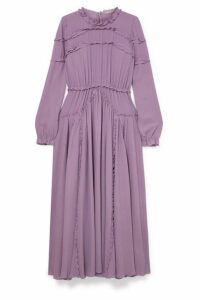 Bottega Veneta - Ruffled Gathered Silk-crepe Dress - Lilac
