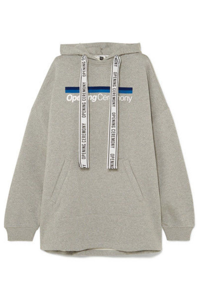 Opening Ceremony - Torch Oversized Printed Cotton-jersey Hoodie - Light gray