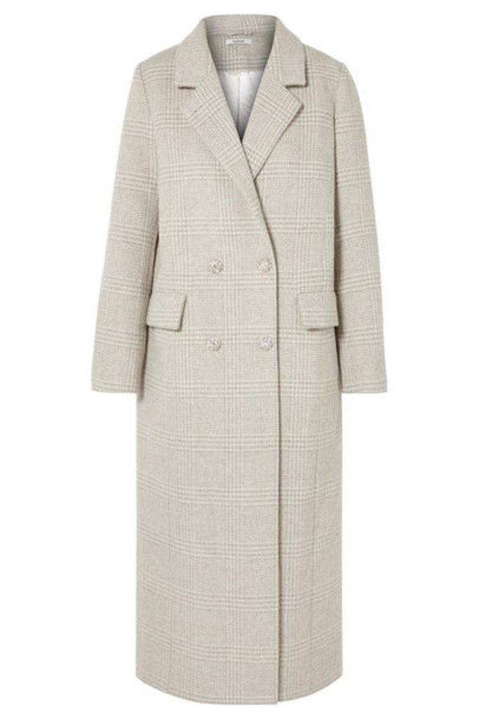 GANNI - Crystal-embellished Checked Wool-blend Coat - Light gray