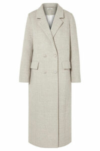 GANNI - Crystal-embellished Checked Wool-blend Coat - Light gray