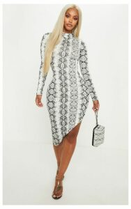 Shape Grey High Neck Snake Print Bodycon Dress, Grey