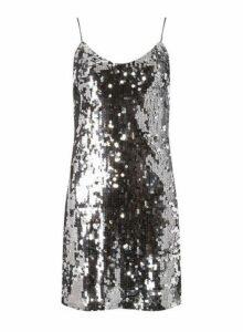 Womens **Silver Sequin Slip Dress- Silver, Silver