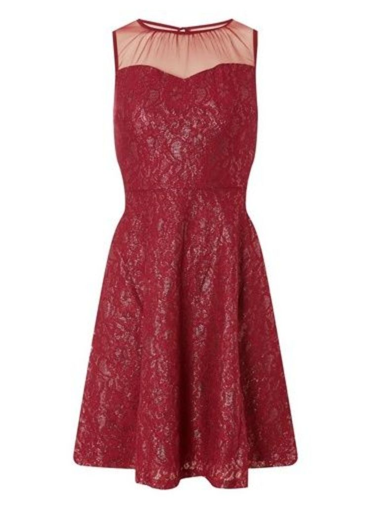 Womens **Pink And Gold Shimmer Lace Skater Dress- Multi Colour, Multi Colour