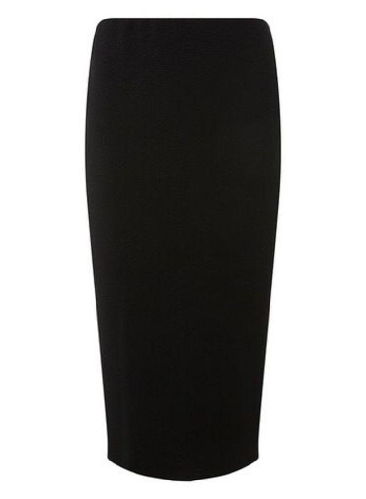 Womens **Tall Black Textured Pencil Skirt- Black, Black