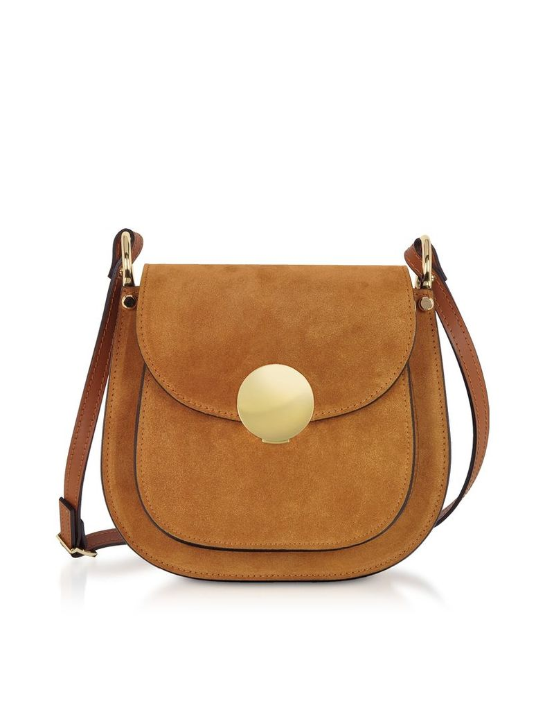 Le Parmentier Designer Handbags, Agave Suede and Smooth Leather Shoulder Bag