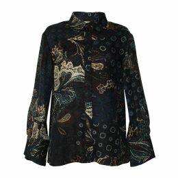 WtR - Faun Black Silk Long Sleeve Shift Dress