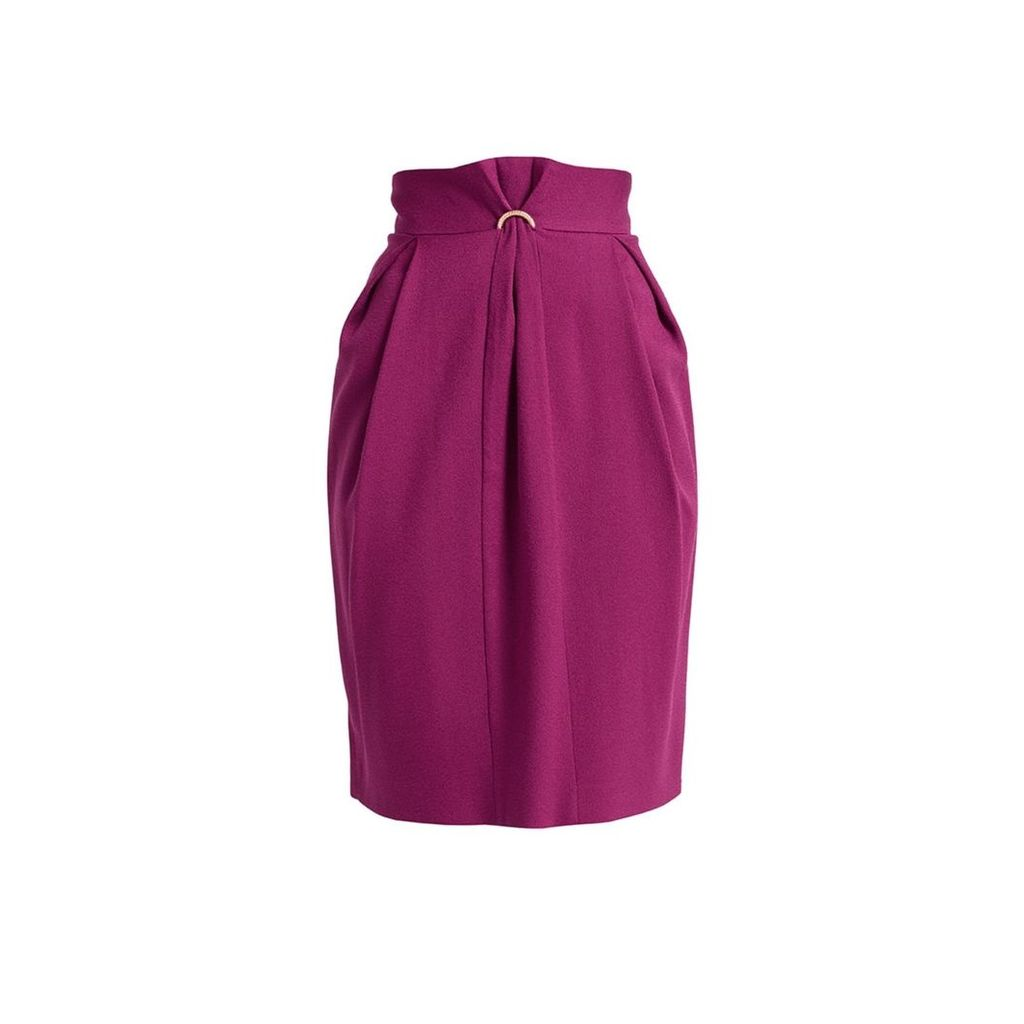 WtR - Fokine Purple Wool Blend High Waist Pencil Skirt