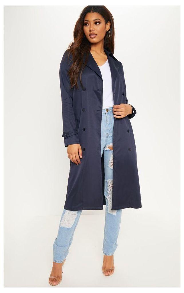 Tall Navy Oversized Longline Coat, Blue
