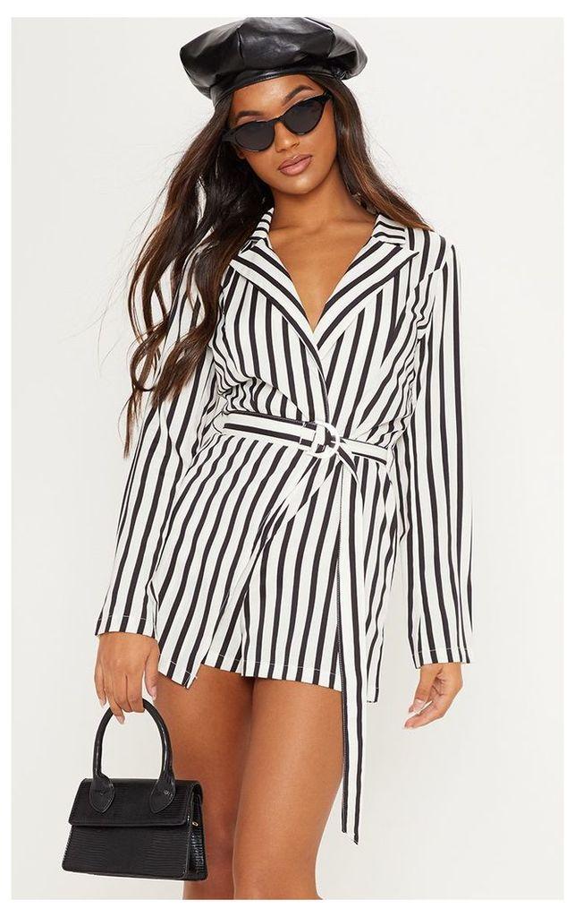 Monochrome Stripe Wrap Over Blazer Playsuit, Black